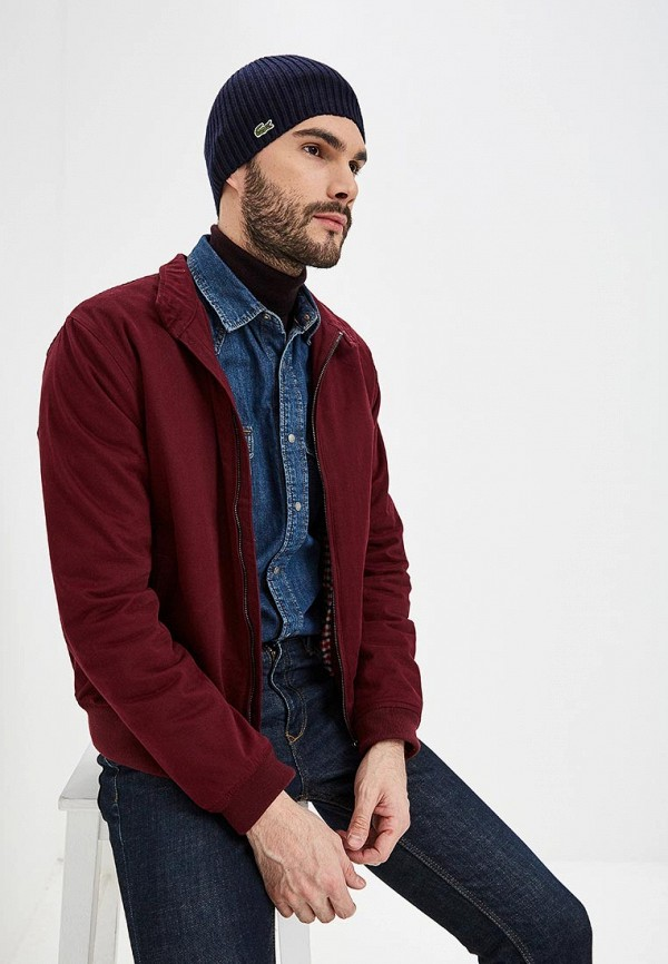 Фото 8 - мужскую шапку Lacoste синего цвета