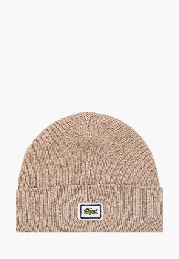 мужская шапка lacoste, бежевая