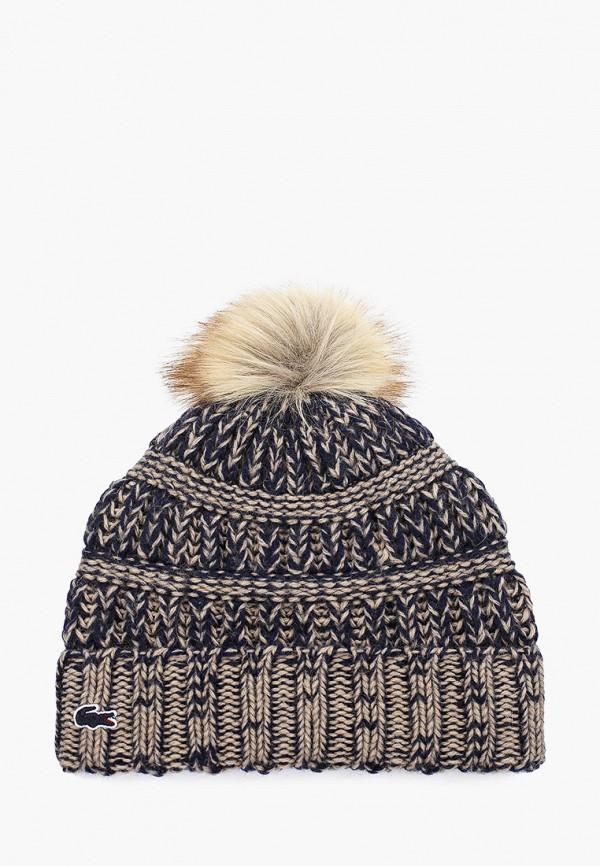 женская шапка lacoste, бежевая