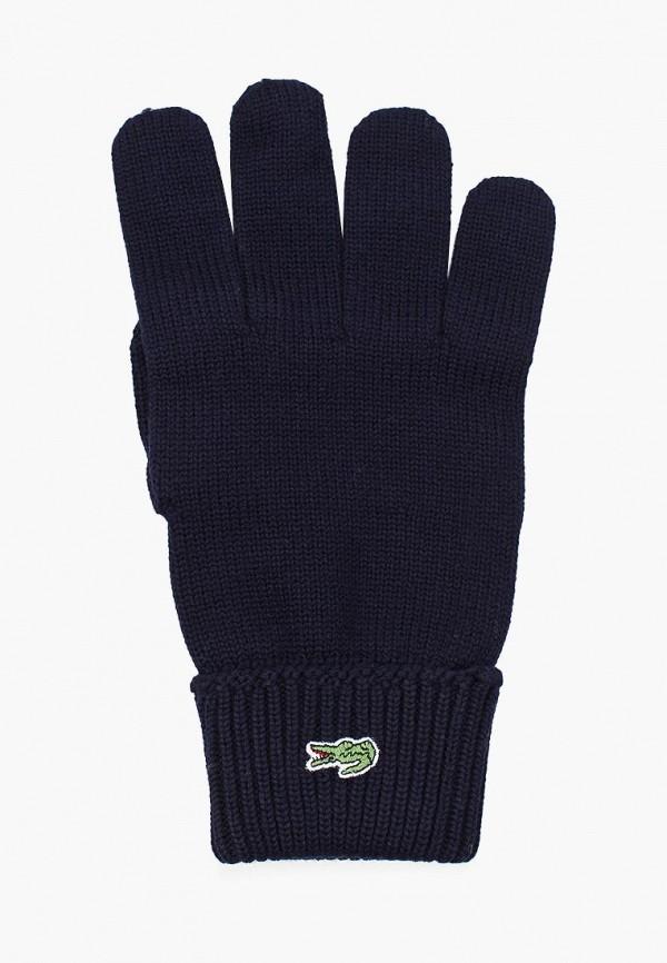 Фото 7 - мужские текстильные перчатки Lacoste синего цвета
