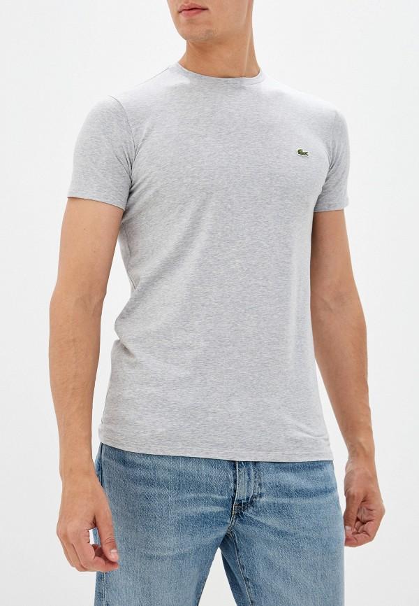 мужская футболка с коротким рукавом lacoste, серая