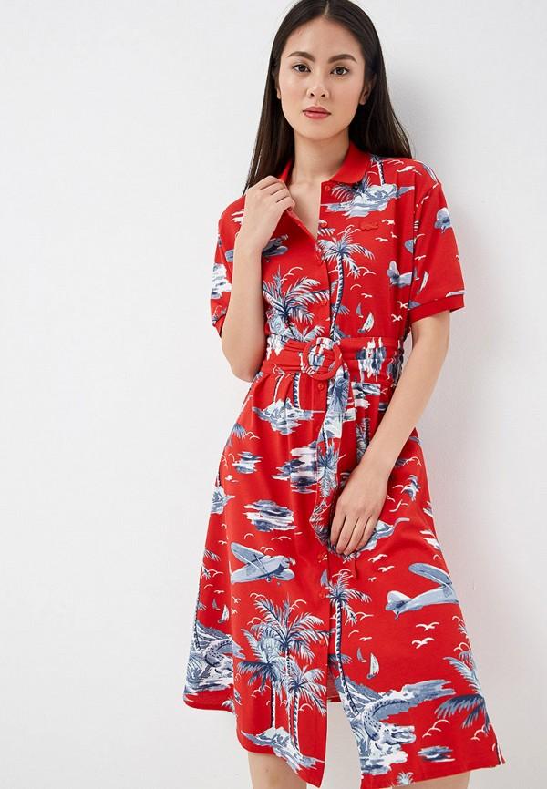 женское повседневные платье lacoste, красное