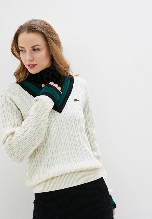 женский пуловер lacoste, белый