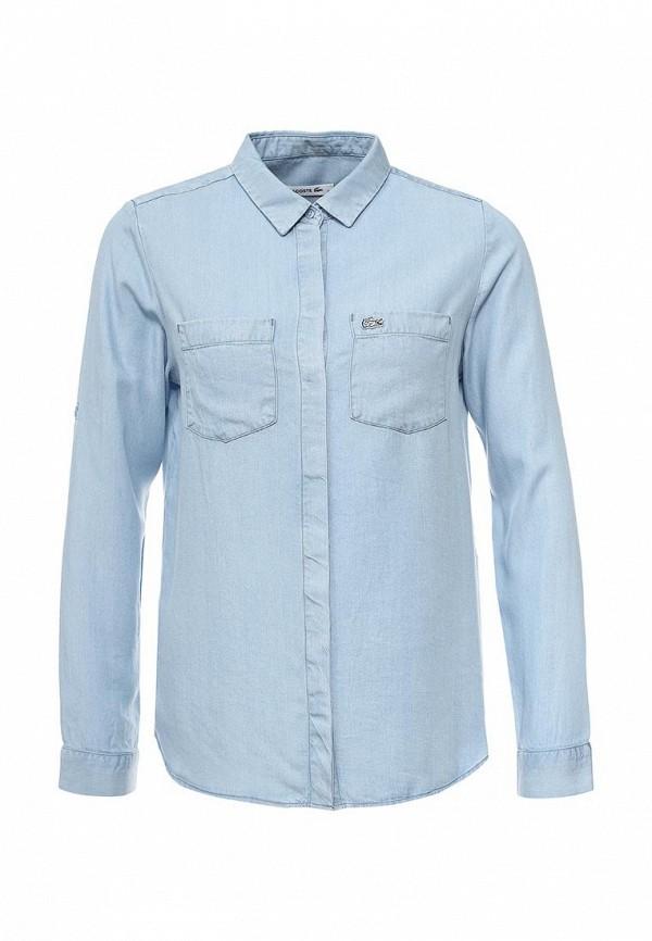 женская джинсовые рубашка lacoste, голубая