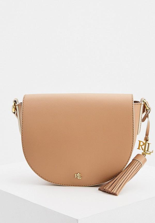 женская сумка lauren ralph lauren, бежевая