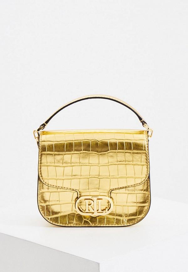 женская сумка с ручками lauren ralph lauren, золотая