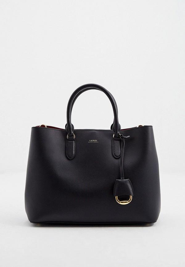 женская сумка с ручками lauren ralph lauren, черная