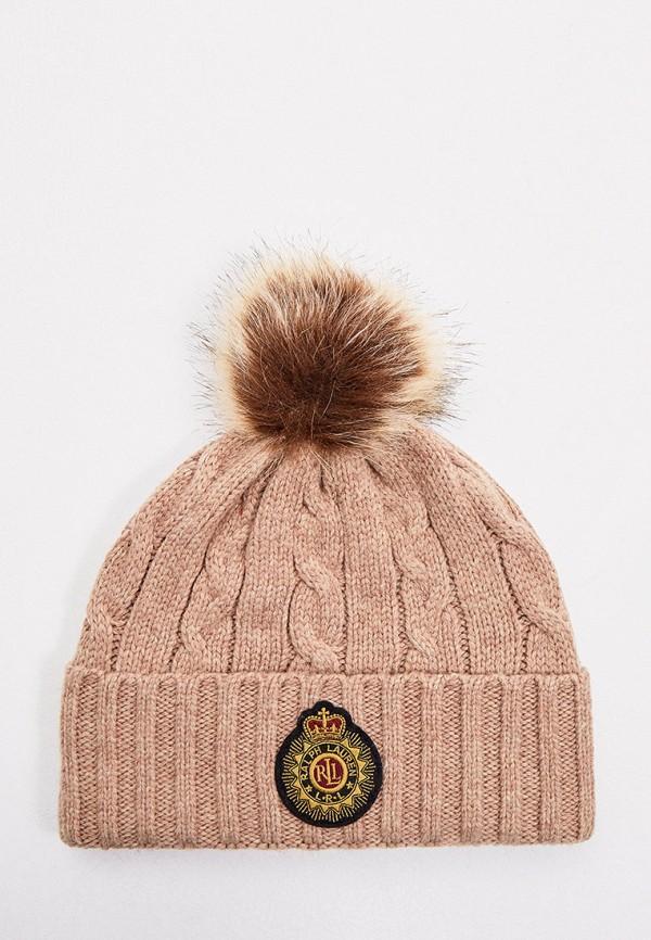 женская шапка lauren ralph lauren, бежевая