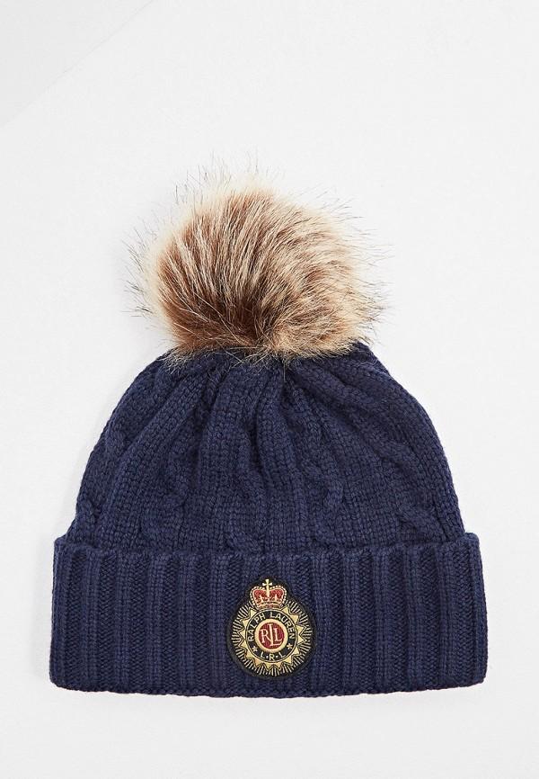 женская шапка lauren ralph lauren, синяя