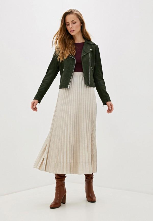 Фото 2 - Куртку кожаная Lauren Ralph Lauren зеленого цвета