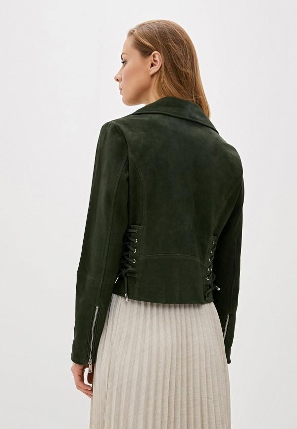 Фото 3 - Куртку кожаная Lauren Ralph Lauren зеленого цвета