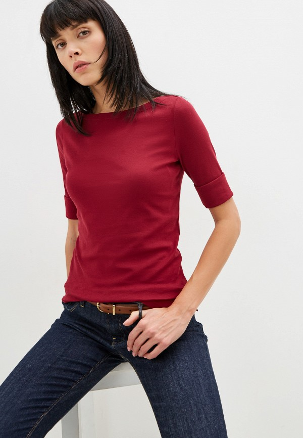 женская футболка lauren ralph lauren, бордовая