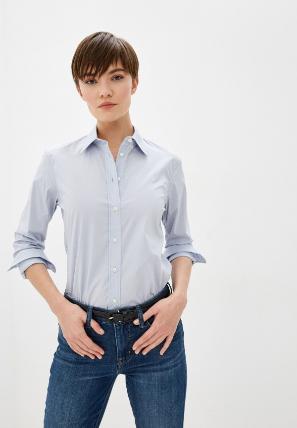 женская рубашка с длинным рукавом lauren ralph lauren, голубая