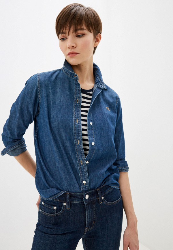 женская джинсовые рубашка lauren ralph lauren, синяя