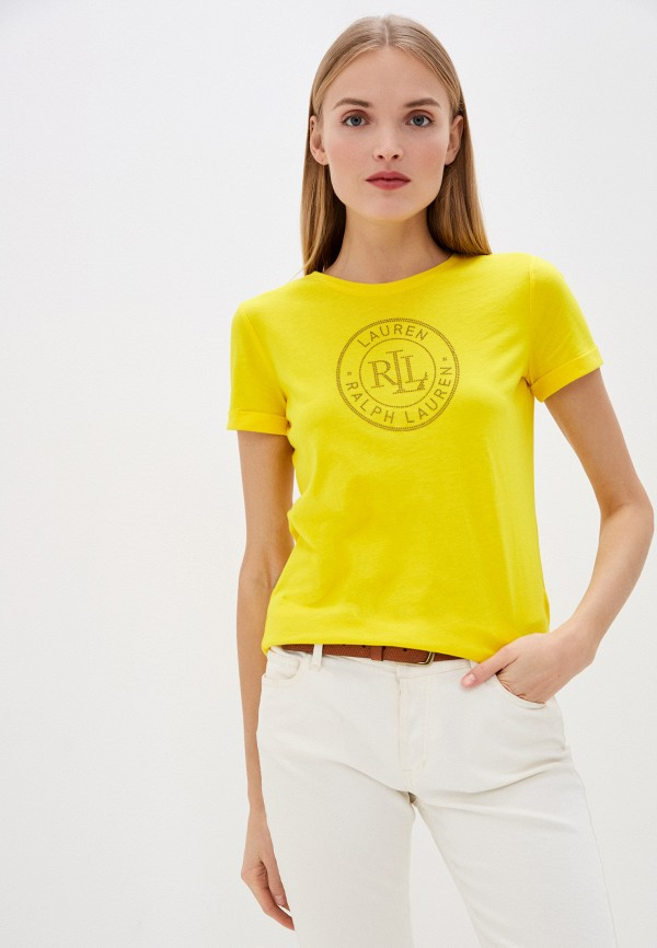 женская футболка lauren ralph lauren, желтая