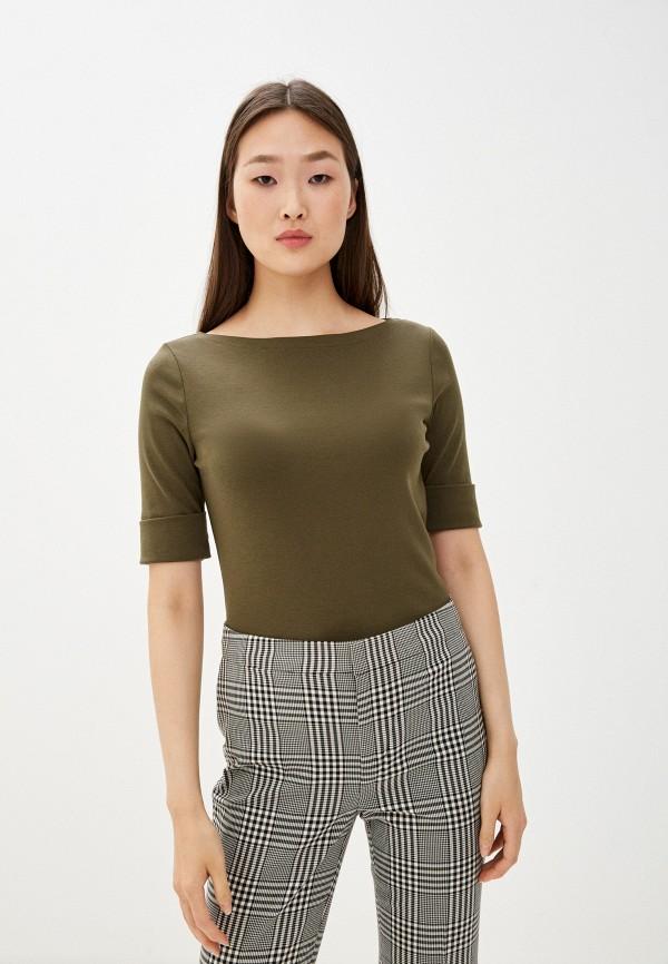 женская футболка lauren ralph lauren, хаки