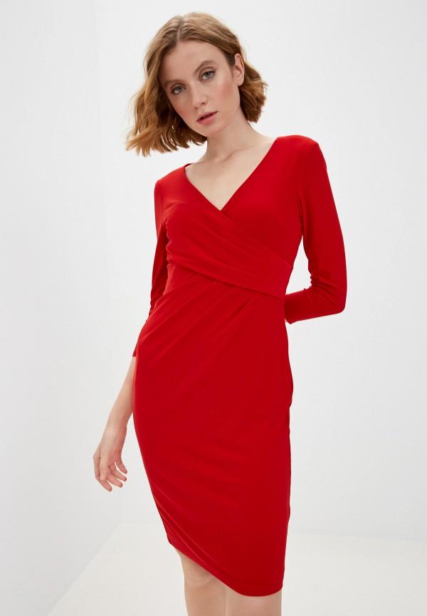 женское платье-футляр lauren ralph lauren, красное