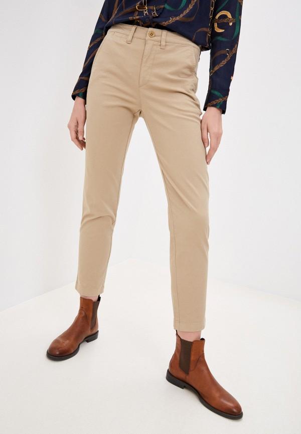 женские повседневные брюки lauren ralph lauren, бежевые