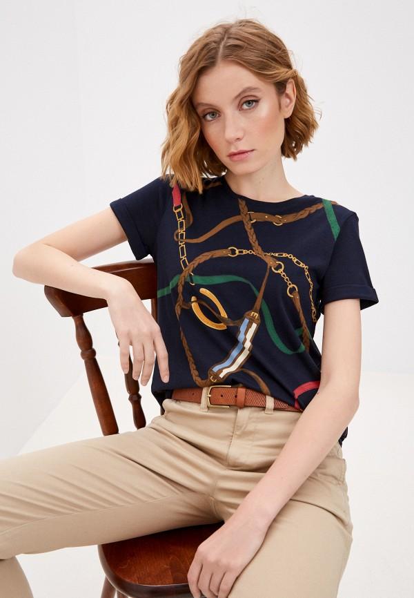 женская футболка lauren ralph lauren, синяя