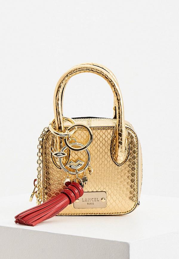 женская сумка с ручками lancel, золотая