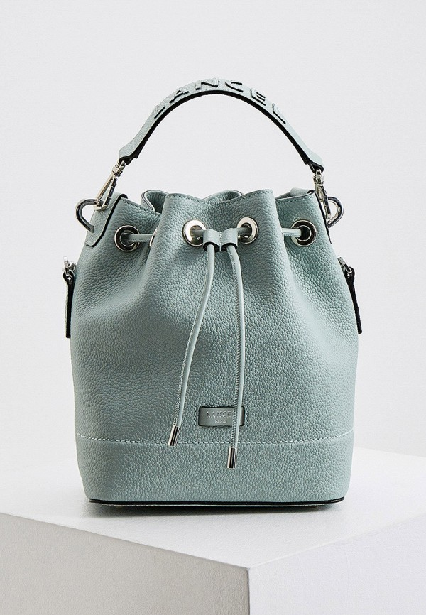 женская сумка-ведро lancel, бирюзовая