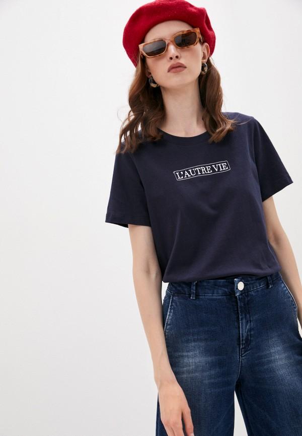 женская футболка l'autre chose, синяя