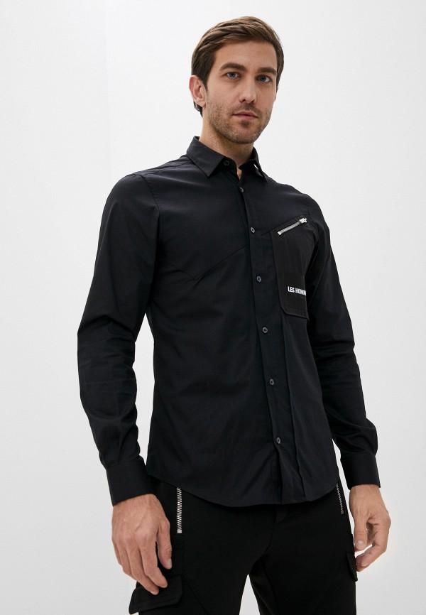 мужская рубашка с длинным рукавом les hommes, черная