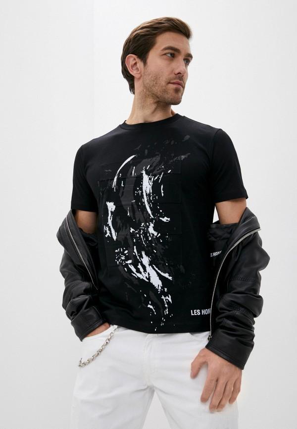 мужская футболка les hommes, черная