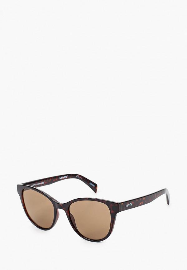 женские круглые солнцезащитные очки levi's®, коричневые