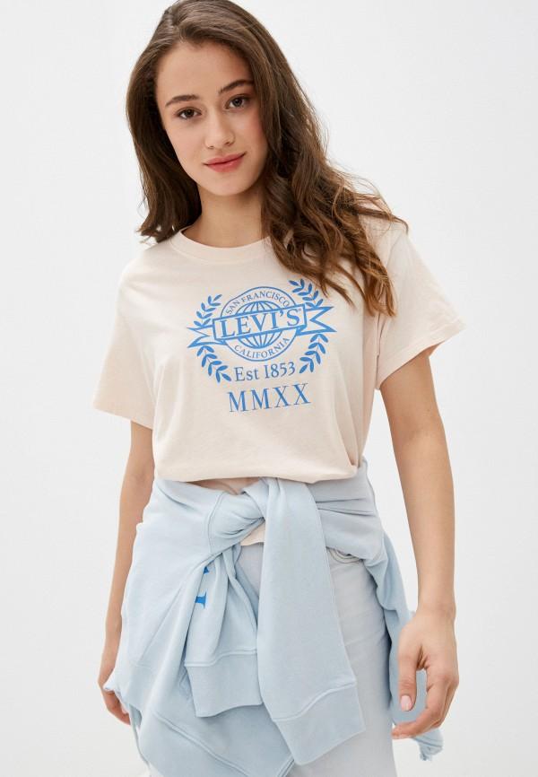 женская футболка levi's®, розовая