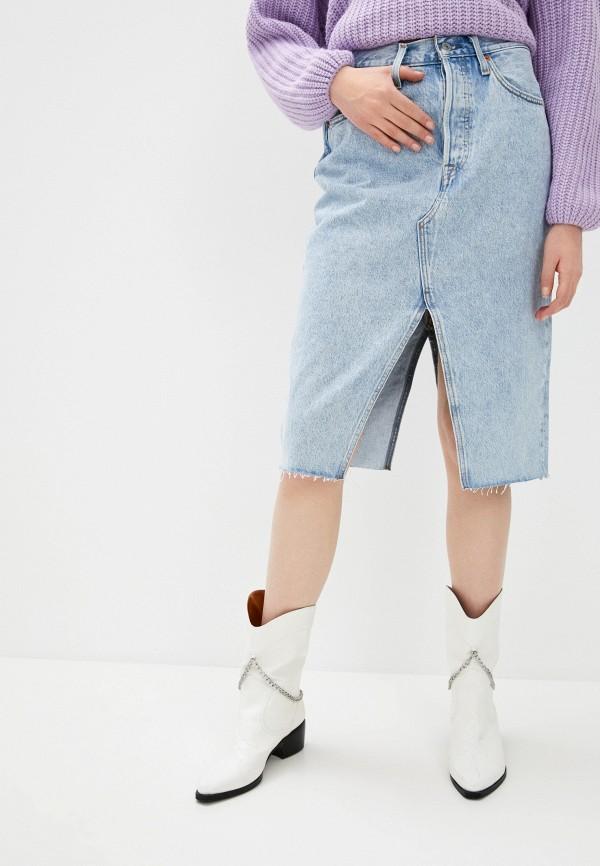 женская джинсовые юбка levi's®, голубая