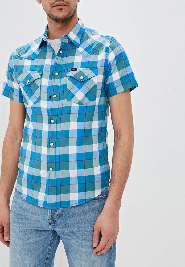 мужская рубашка с коротким рукавом lee, синяя