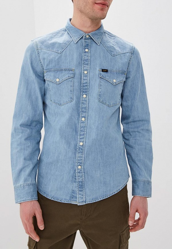мужская джинсовые рубашка lee, голубая