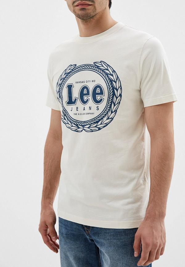 мужская футболка с коротким рукавом lee, бежевая