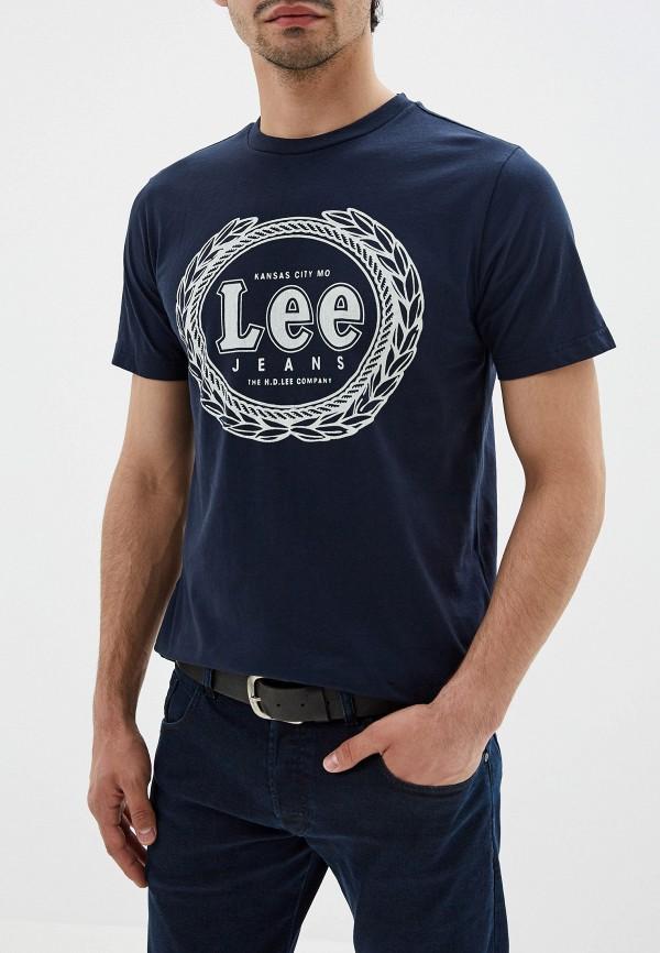 мужская футболка с коротким рукавом lee, синяя