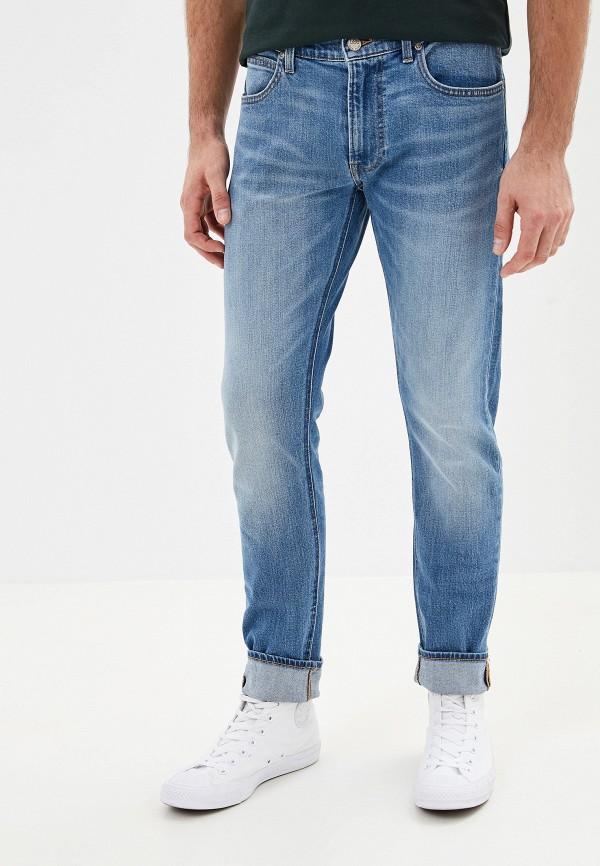мужские зауженные джинсы lee, синие