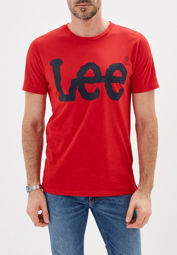 мужская футболка с коротким рукавом lee, красная