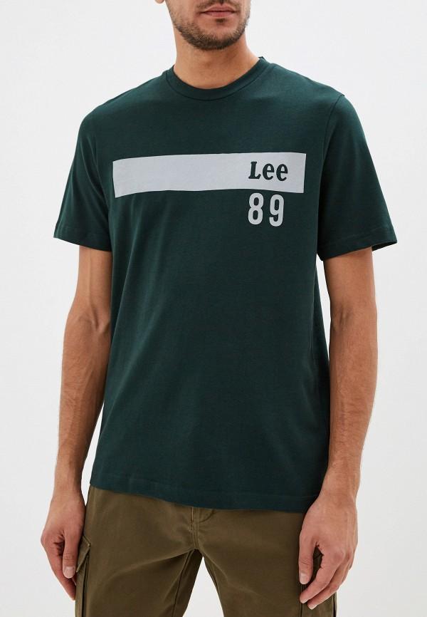мужская футболка с коротким рукавом lee, зеленая