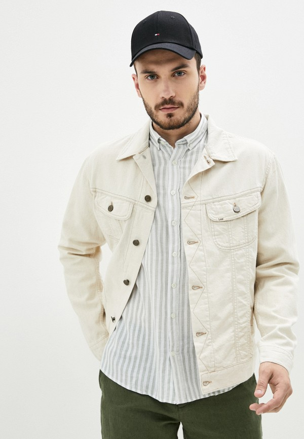 мужская джинсовые куртка lee, бежевая