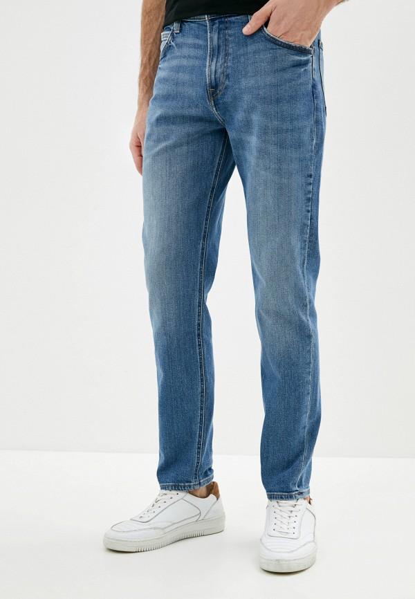 мужские зауженные джинсы lee, голубые