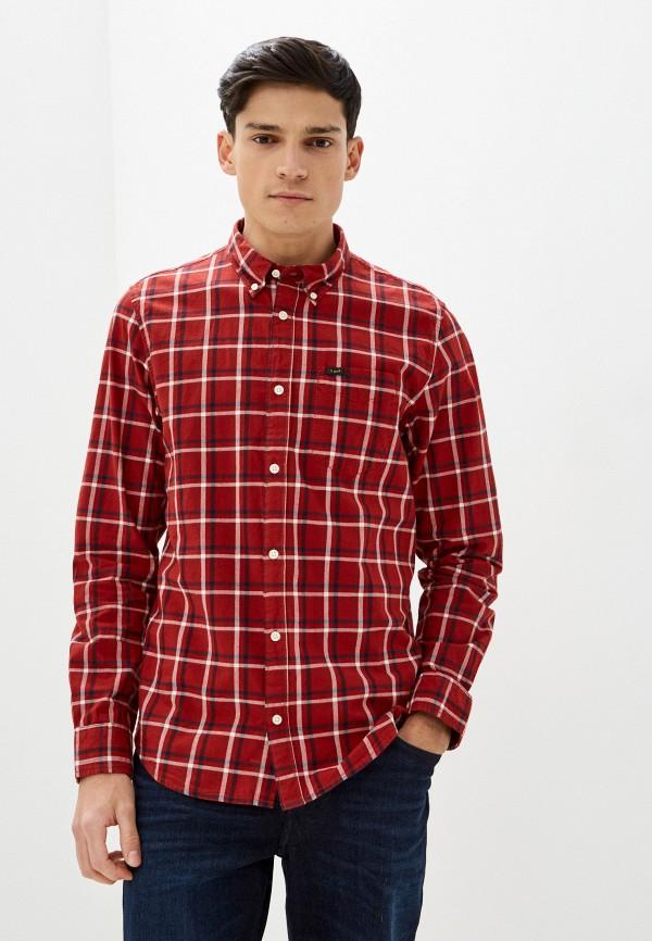 мужская рубашка с длинным рукавом lee, красная