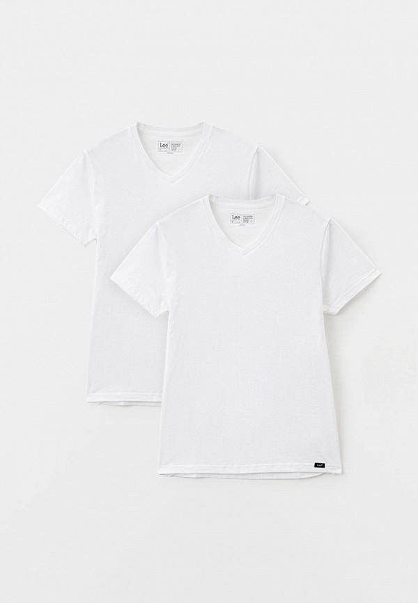 мужская футболка с коротким рукавом lee, белая