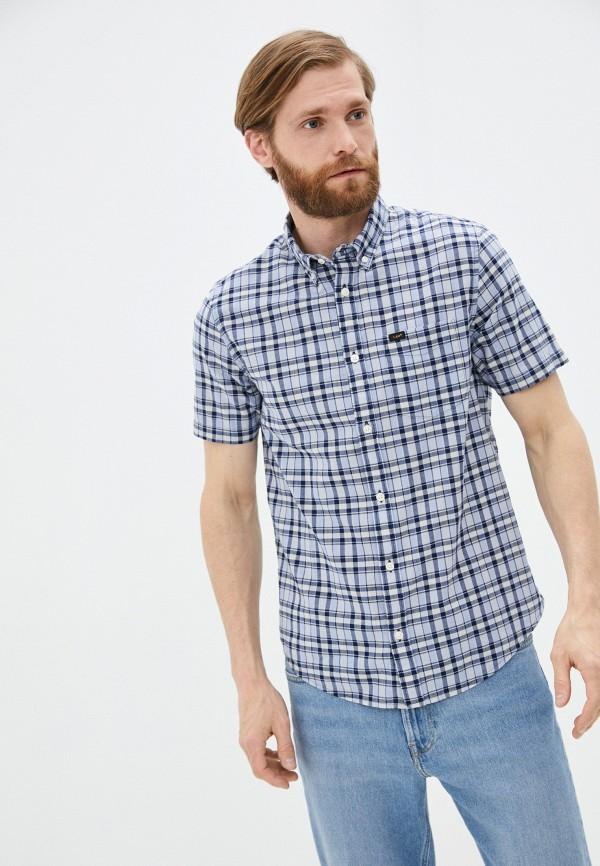 мужская рубашка с коротким рукавом lee, голубая