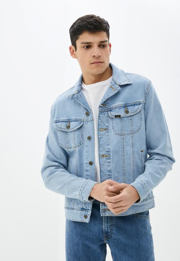 мужская джинсовые куртка lee, голубая