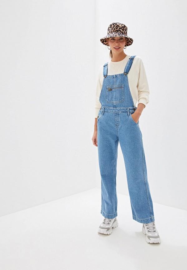 женский джинсовые комбинезон lee, синий