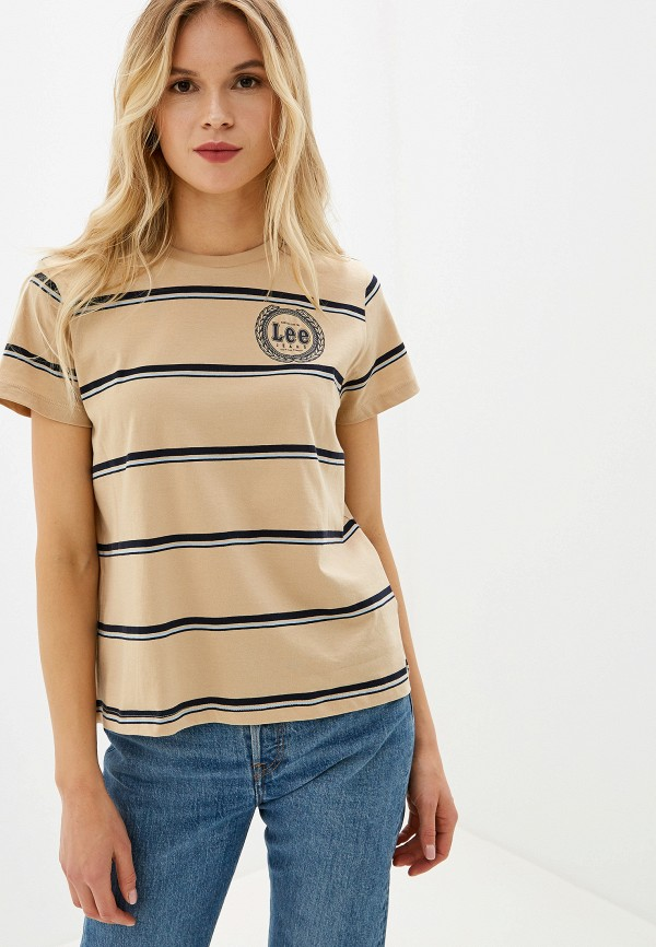 женская футболка lee, бежевая