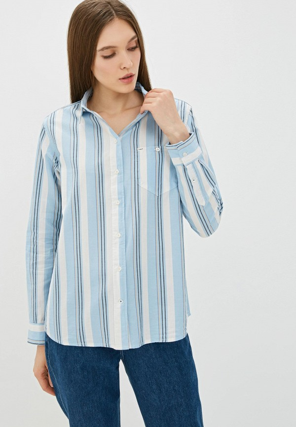 женская рубашка с длинным рукавом lee, голубая