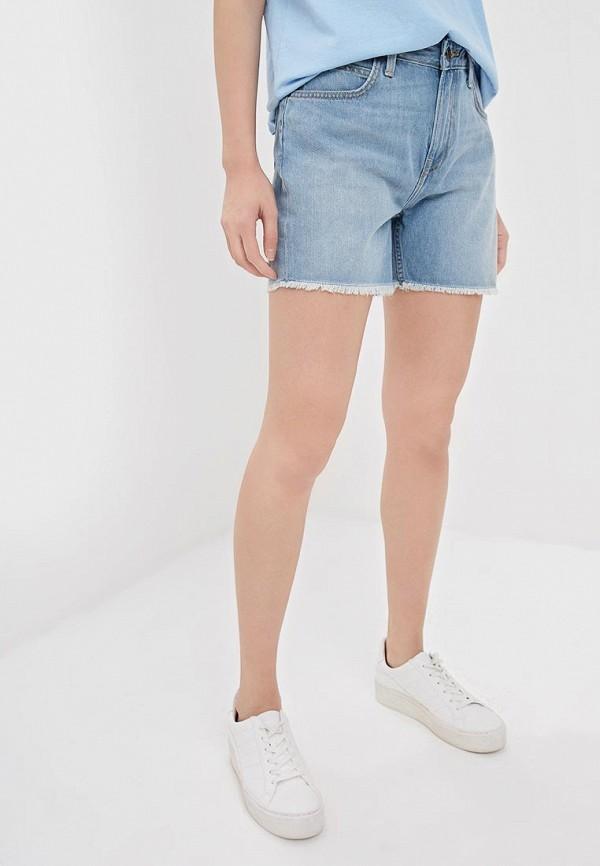 женские джинсовые шорты lee, голубые