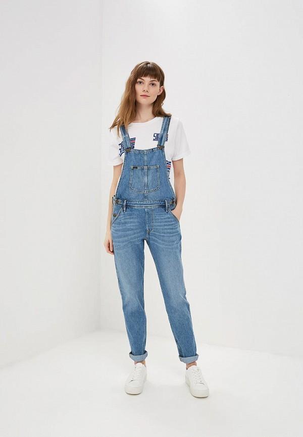 женский джинсовые комбинезон lee, голубой