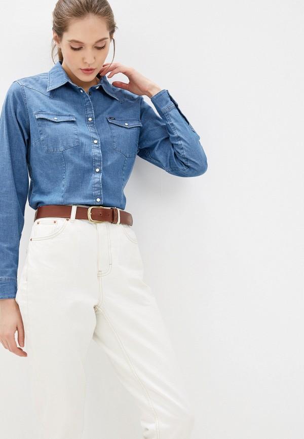 женская джинсовые рубашка lee, синяя